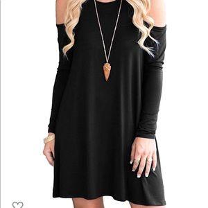 Black peep-shoulder dress
